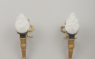WALL LAMPS, a pair, in the form of torches.
