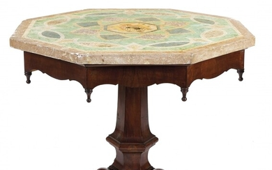 Walnut and scagliola table 19th Century