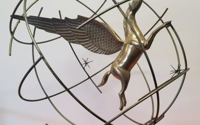Winged Curtis Jere Pegasus Globe Sculpture With Onix