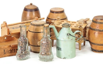 mixed lot of shop accessories, around 1900, 11 pieces