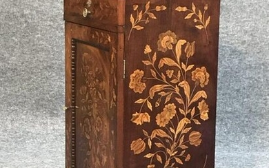 """1 DOOR / 1 DRAWER MARQUETRY INLAID HALF COMMODE 32 1/2"""""""