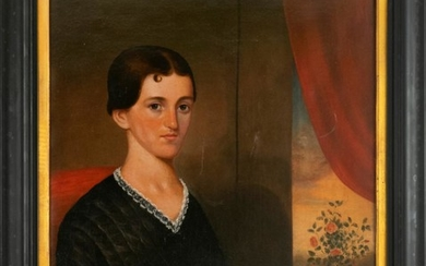 "AMERICAN SCHOOL, 19th Century, Portrait of a young woman., Oil on canvas, 30"" x 25"". Framed 34"" x 29""."