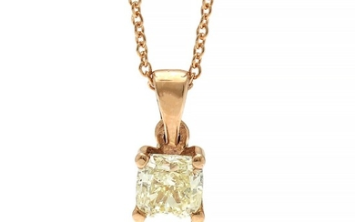 A diamond solitaire pendant set with a brilliant-cut diamond weighing app. 0.35 ct., mounted in 14k rose gold. Accompanied by necklace of 14k rose gold.