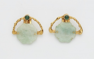 A pair of 18k gold and jade clip earrings