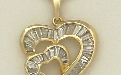 14K GOLD 3/4ct BAGUETTE DIAMOND DOUBLE HEART MOM LOVE