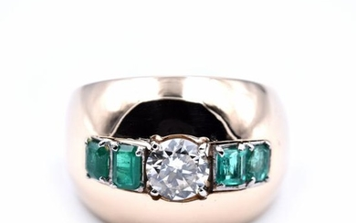14k Yellow Gold Diamond and Emerald Wide Domed Ring