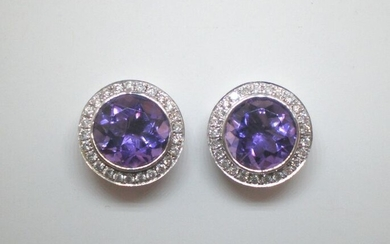 18 kt. White gold - Earrings - 2.18 ct Amethyst - Diamond