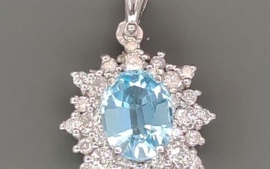 18 kt. White gold - Pendant - 2.55 ct Topaz - ct 0.88 Diamond