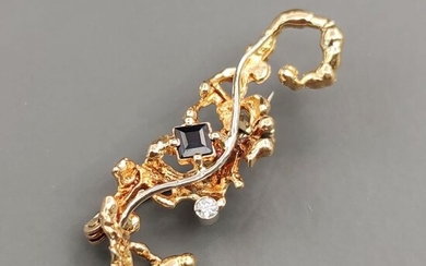 18 kt. Yellow gold - Brooch - 0.15 ct Sapphire - Diamond