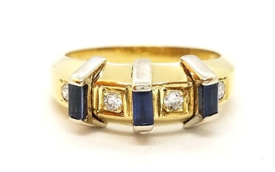 18 kt. Yellow gold - Ring Diamond - Sapphire