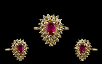 18ct Gold - Nice Quality Ruby and Diamond Set Cluster Ring. ...