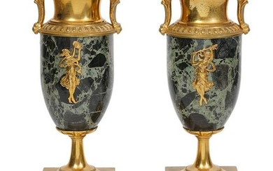 19/20th C. French Gilt Bronze Mounted Marble Urns