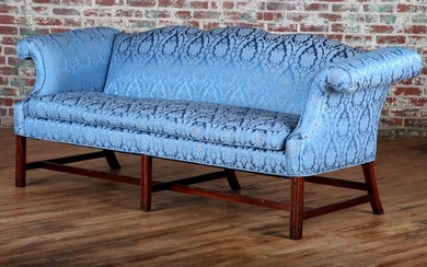 19TH C. CHIPPENDALE STYLE SOFA CARVED MAHOGANY