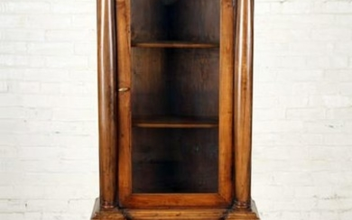 19TH C. FRENCH EMPIRE WALNUT AND GLASS VITRINE