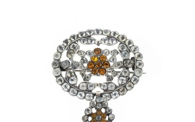 19thC silver pendant with stones