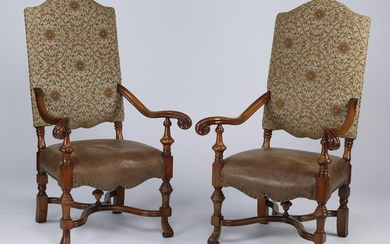 (2) Charles X-style carved armchairs w/ leather