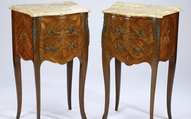 (2) French marble top marquetry commodes, early 20th