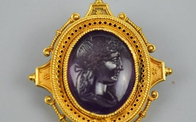20k Gold & Carved Amethyst Victorian Seal Pin / Pendant