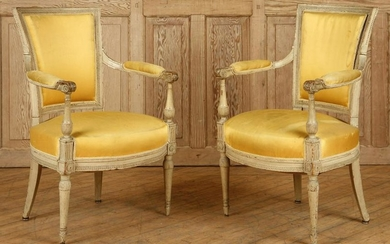 PAIR FRENCH 18TH CENT. OPEN ARM CHAIRS CARVED