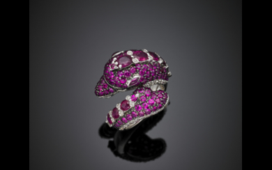 Ruby and diamond white gold dolphin ring, g 10.20...