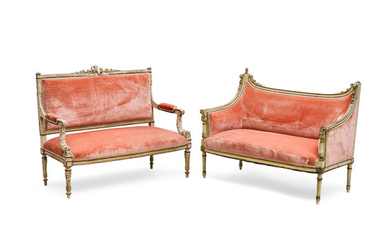Two Louis XVI Style Carved and Painted Wood Settees