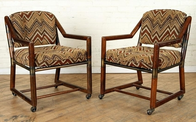 PAIR MID CENTURY MODERN FRUITWOOD OPEN ARM CHAIRS
