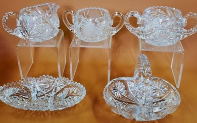 5 PIECES OF CUT GLASS