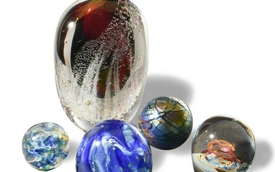 5 Studio Art Glass Paperweights