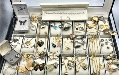 [50] Fifty Assorted Costume Necklaces Butterfly Hearts