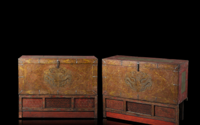 A 19th century pair of lacquered wooden boxes with...