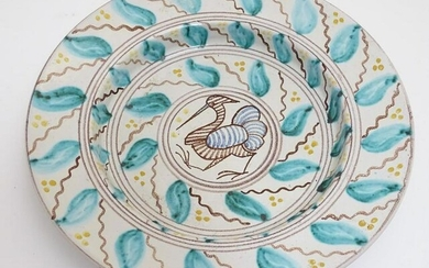 A 20thC Scandinavian hand painted plate / charger, the