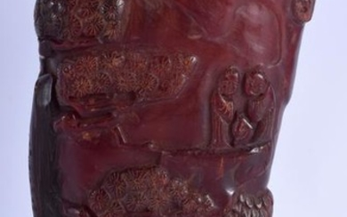 A CHINESE BUFFALO HORN CARVED LIBABTION CUP. 20 cm x 9