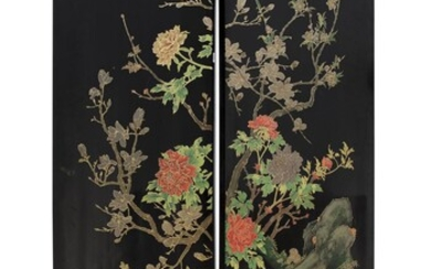 A CHINESE LAQUER WOOD TWO PANEL SCREEN WITH CORAL QUARTZ IVORY AND JADE INLAID. EARLY 20TH CENTURY