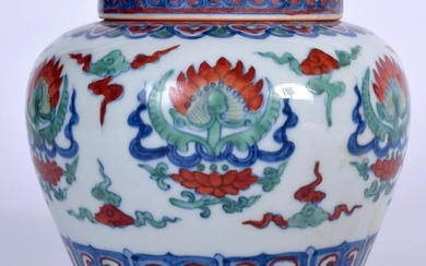 A CHINESE WUCAI PORCELAIN VASE AND COVER, painted with