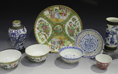 A Chinese Canton famille rose porcelain plate, mid to late 19th century, typically painted with pane
