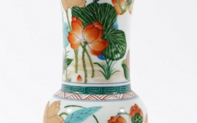 A Chinese Ceramic Vase with Floral and Bird Themed Motif, Mark to Base (H:31cm)