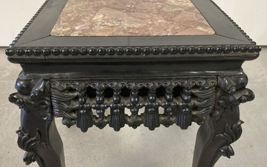 A Chinese carved hardwood square topped plant stand. With ba...