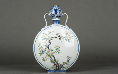 A Chinese underglaze Blue and Famille- rose Enameled Moon-Flask Vase