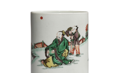 A FAMILLE VERTE 'SCHOLAR AND ATTENDANT' BRUSH POT, KANGXI PERIOD (1662-1722)