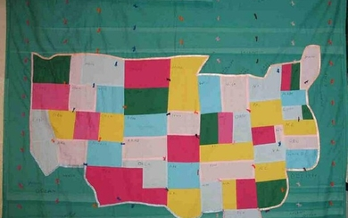 A FOLKY MAP OF THE UNITED STATES QUILT
