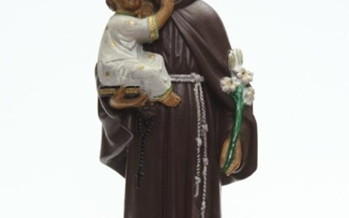 A FRENCH PAINTED PLASTER RELIGIOUS FIGURE, 56 CM HIGH, LEONARD JOEL LOCAL DELIVERY SIZE: SMALL