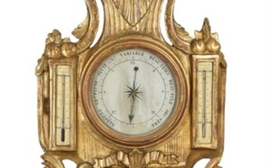 A French Louis XVI giltwood mercury wall barometer, unsigned, late 18th century