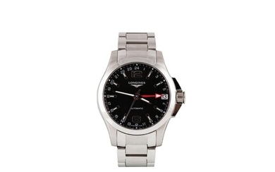 A GENT'S STAINLESS STEEL LONGINES CONQUEST WRIST WATCH, blac...