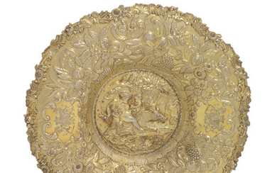 A GEORGE IV SILVER-GILT SIDEBOARD DISH, MARK OF JOHN EDWARD TERREY AND COMPANY, LONDON, 1823