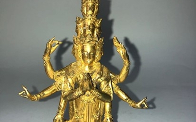 A Gilt Bronze Figure of Avalokiteshvara.