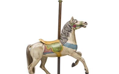 A Gustav Dentzel Polychrome Painted and Carved Wood Carousel Horse