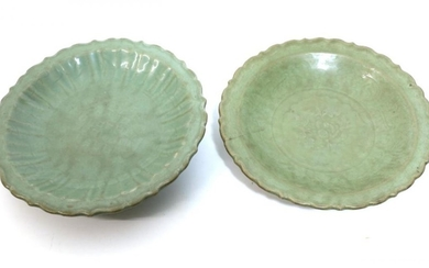 A Longquan Celadon Dish, Ming dynasty, carved with lattice and...