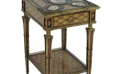 A Louis XV Brass Mounted Marquetry and Porcelain Style