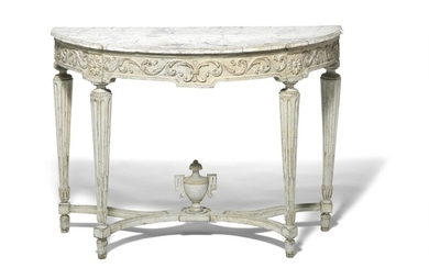 A Louis XVI painted console, 'demi lune' imitated marble top. Late 18th century. H. 85 cm. W. 120 cm. D. 53 cm.