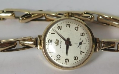 A Marvin 9ct Gold Ladies Wristwatch and bracelet, 17.6g gros...
